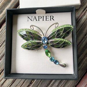 Napier rhinestone dragonfly pin; new in box